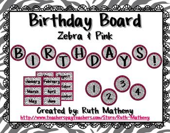Birthday Board - Zebra & Pink