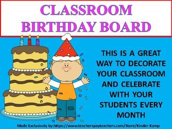 Classroom Birthday Bulletin Board Decor