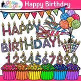 Happy Birthday Clip Art {Cupcakes, Candles, Balloons, & Bu