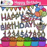 Happy Birthday Clip Art {Cupcakes, Candles, Balloons, & Bu