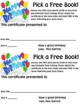 Birthday Book Certificate