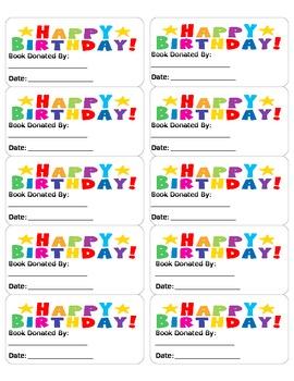 Birthday Book Labels
