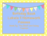 Birthday Book Labels and Homework Passes Freebie