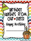 Birthday Book for Student, paraprofessional, teacher classroom helper/assisstat