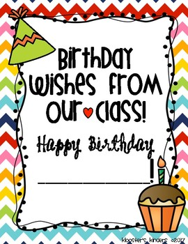 Birthday Book for Student, paraprofessional, teacher classroom helper/assisstat