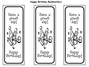 Birthday Bookmarkers and Certificates