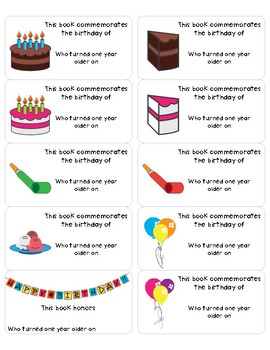 BOOKPLATES - Birthday - This Book Commemorates - 5 Sheets - Fillable PDF