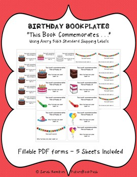 Birthday Bookplates - This Book Commemorates