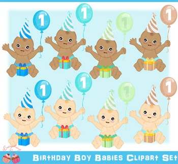 Birthday Boy Babies Clipart Set