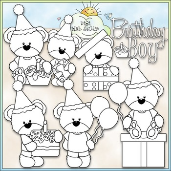 Birthday Boy Bears Clip Art - Birthday Clip Art - CU Clip Art & B&W