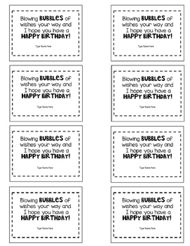 Birthday Bubbles Gift Tag