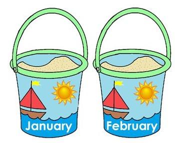 Birthday Buckets and Shovels Beach Bulletin Board Set