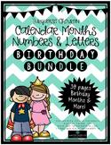 Birthday Bulletin Board Bundle, Calendar Months, Numbers {Turquoise Chevron}