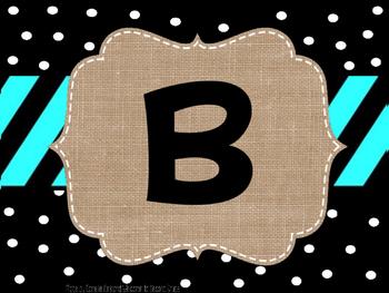 Birthday Bulletin Board (Burlap, Black, & Polka Dot)