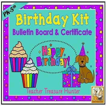Back to School Birthday Bulletin Board & Certificate ~ cla