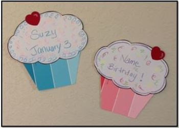 Birthday Cupcakes Bulletin Board with Paint Chips