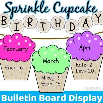 Birthday Bulletin Board {Editable Sprinkle Cupcakes}