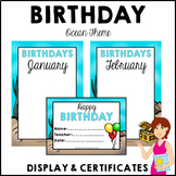 OCEAN Birthday Bulletin Board Display Fully Editable