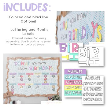 Birthday Bulletin Board: Donut You Know It's Our Birthday Board and Tags