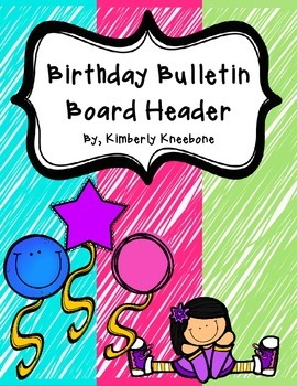 Birthday Bulletin Board Header - Bright Turquoise, Pink, Green Scribbles