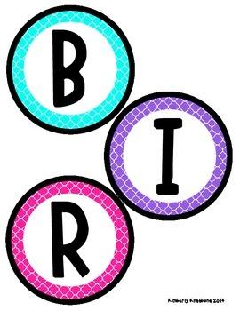Birthday Bulletin Board Header - Bright Turquoise, Purple, and Pink Quatrefoil