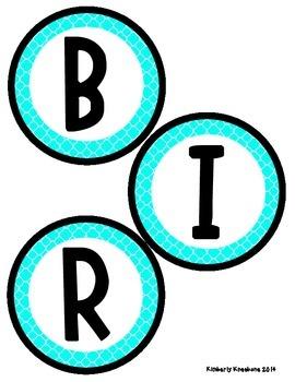 Birthday Bulletin Board Header - Bright Turquoise Quatrefoil
