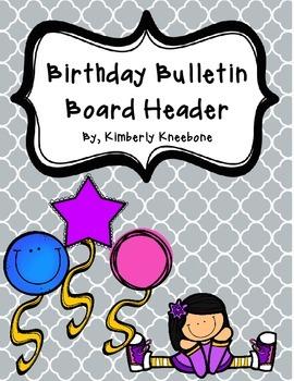 Birthday Bulletin Board Header - Gray Quatrefoil