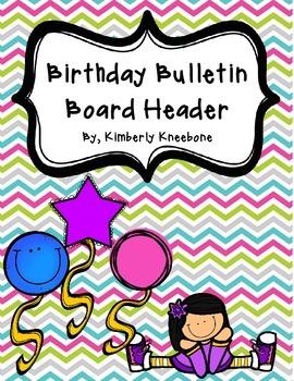 Birthday Bulletin Board Header - Pretty Chevron