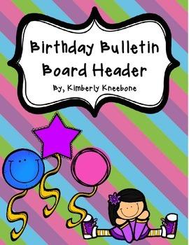Birthday Bulletin Board Header - Pretty Diagonal Stripes