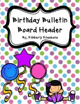 Birthday Bulletin Board Header - Pretty Polka Dots