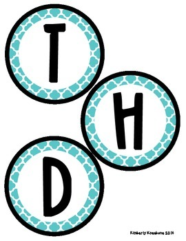 Birthday Bulletin Board Header - Turquoise Quatrefoil