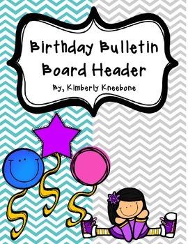Birthday Bulletin Board Header - Turquoise and Gray Chevron
