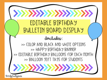 Birthday Bulletin Board Kit - Bright Colors!
