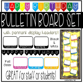 Colorful Birthday Bulletin Board Set - Great for Staff or Students!