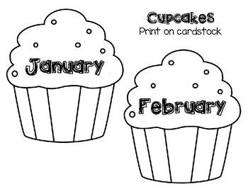Birthday Bulletin Board Set with Cupcakes