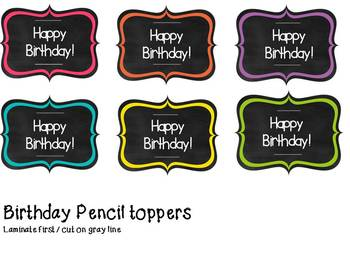 Birthday Bulletin Board and Pencil Toppers