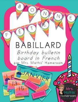 Birthday Bulletin Board in French - Bonne fête!!