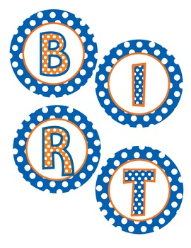 Birthday Bulletin Board in Orange and Royal BLue