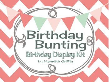 Birthday Bunting Bulletin Board Display Kit Shabby Chic Burlap
