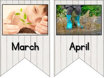 Birthday Bunting Months of Year Calendar Cards