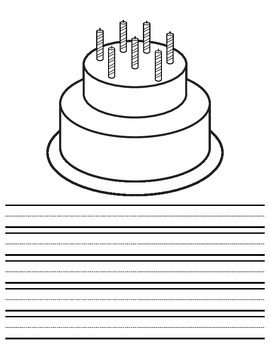 Birthday Cake Book with writing paper/coloring page