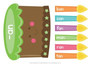 Birthday Cake CVC Word Families