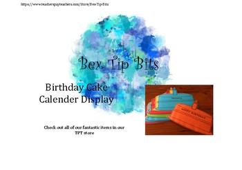 Birthday Cake Calendar Display Printable