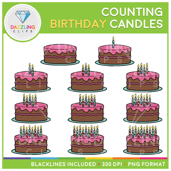 Birthday Cake Candle Counting Clip Art