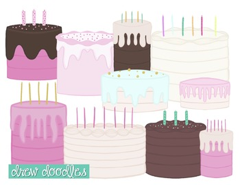 Birthday Cake Digital Clip Art Set
