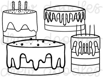 Birthday Cake Digital Clip Art Set- Black Line Version
