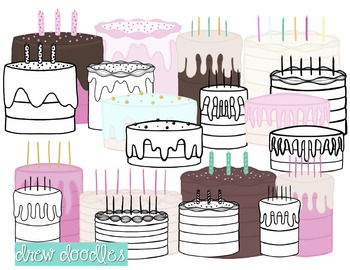 Birthday Cake Digital Clip Art Set- Black Line and Color COMBO