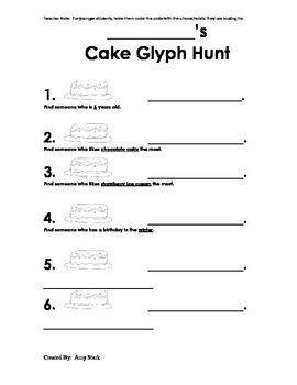 Birthday Cake Glyph for K-2