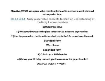 Birthday Cake Place Value Math Center Activity