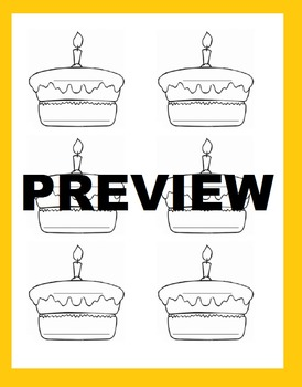Birthday Cake Template -great for birthday celebrations, class pictograph, etc.